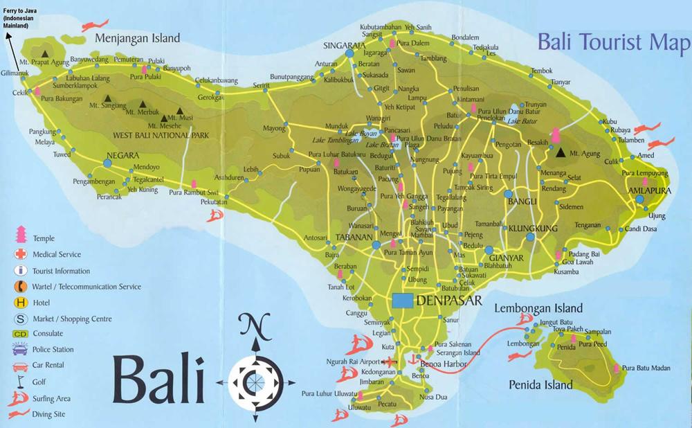 Mapa de Bali Bali Map