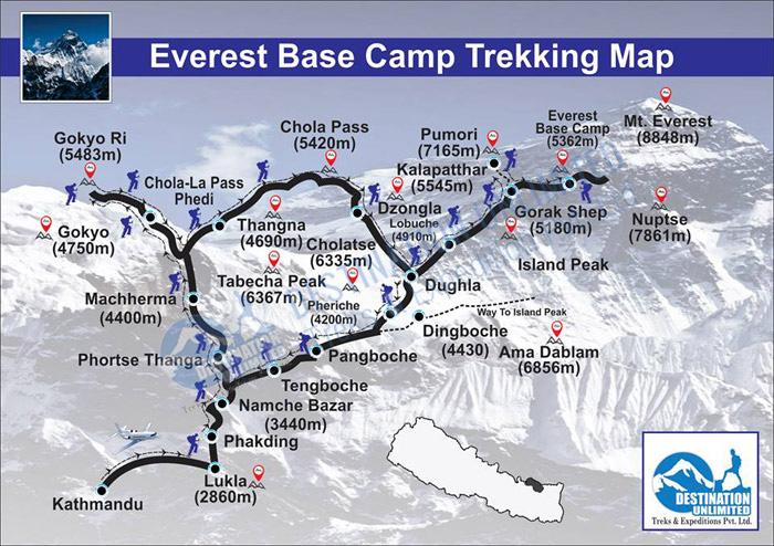 Mapa Everest Base Camp Trekking