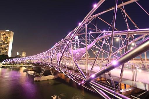 Singapura Atrações Turísticas: Helix Bridge, a ponte em formato de cadeia de DNA.